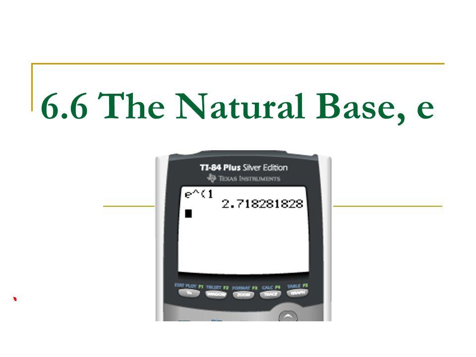 6.6 The Natural Base, e