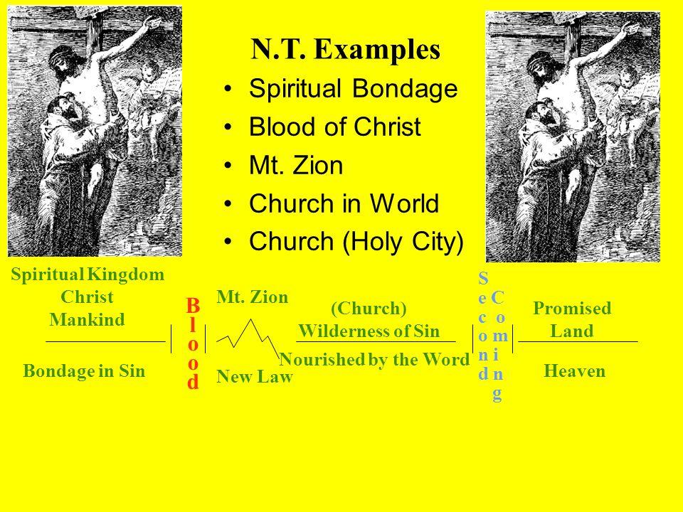 Spiritual Kingdom Christ Mankind BloodBlood Mt. Zion New Law (Church) Wilderness of Sin Nourished by the Word S e C c o o m n i d n g Promised Land He