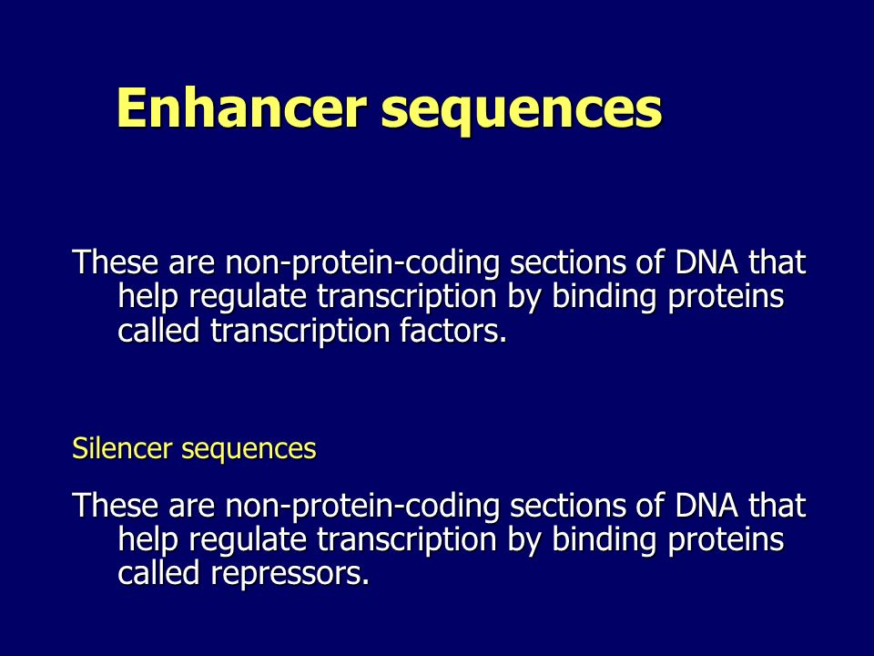 Enhancer sequences Enhancer sequences These are non-protein-coding sections of DNA that help regulate transcription by binding proteins called transcr