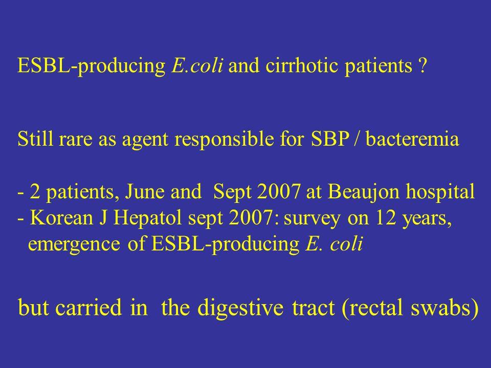 ESBL-producing E.coli and cirrhotic patients .