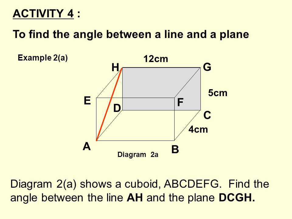Diagram 2(a) shows a cuboid, ABCDEFG. Find the angle between the line AH and the plane DCGH. ACTIVITY 4 : To find the angle between a line and a plane