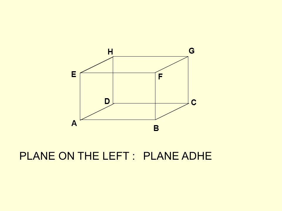 A B C D E F G H PLANE ON THE LEFT :PLANE ADHE