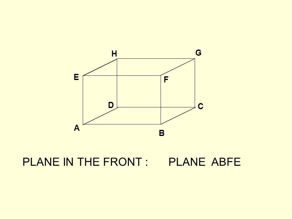 A B C D E F G H PLANE IN THE FRONT :PLANE ABFE