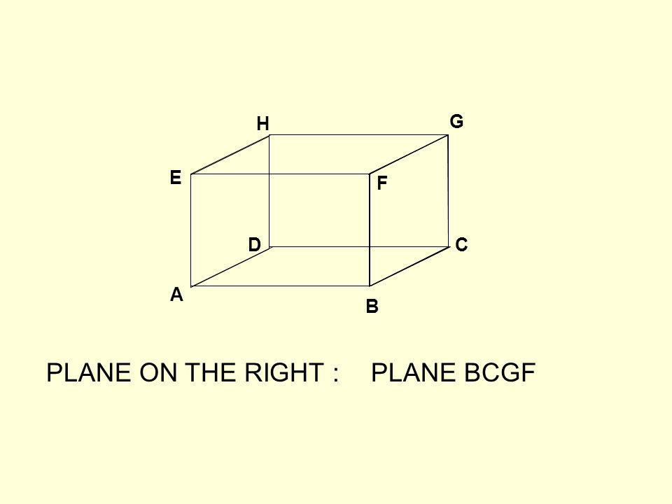 A B CD E F G H PLANE ON THE RIGHT :PLANE BCGF