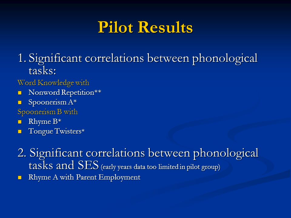 Pilot Results 1.