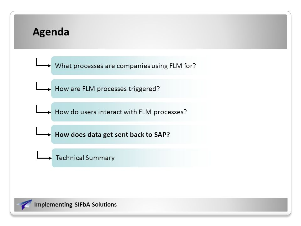 Implementing SIFbA Solutions What processes are companies using FLM for.