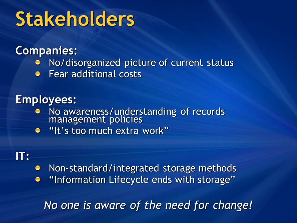 Stakeholders Companies: No/disorganized picture of current status Fear additional costs Employees: No awareness/understanding of records management policies Its too much extra work IT: Non-standard/integrated storage methods Information Lifecycle ends with storage No one is aware of the need for change!