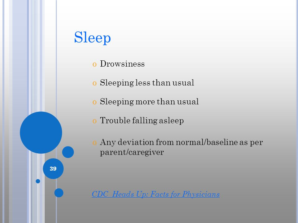 39 oDrowsiness oSleeping less than usual oSleeping more than usual oTrouble falling asleep oAny deviation from normal/baseline as per parent/caregiver