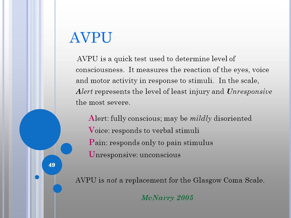 49 AVPU AVPU is a quick test used to determine level of consciousness. It measures the reaction of the eyes, voice and motor activity in response to s