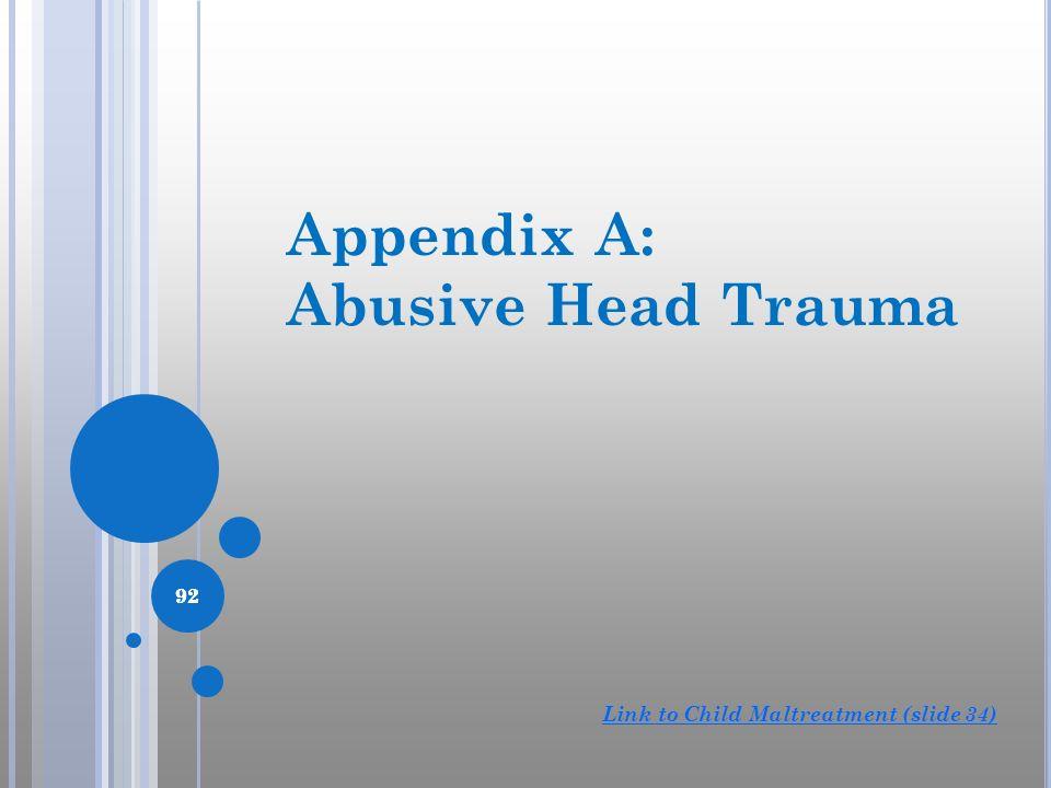 92 Appendix A: Abusive Head Trauma 92 Link to Child Maltreatment (slide 34)