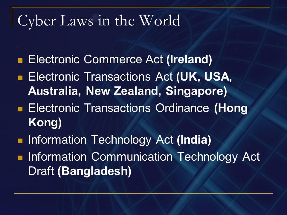 Cyber Laws in the World Electronic Commerce Act (Ireland) Electronic Transactions Act (UK, USA, Australia, New Zealand, Singapore) Electronic Transact