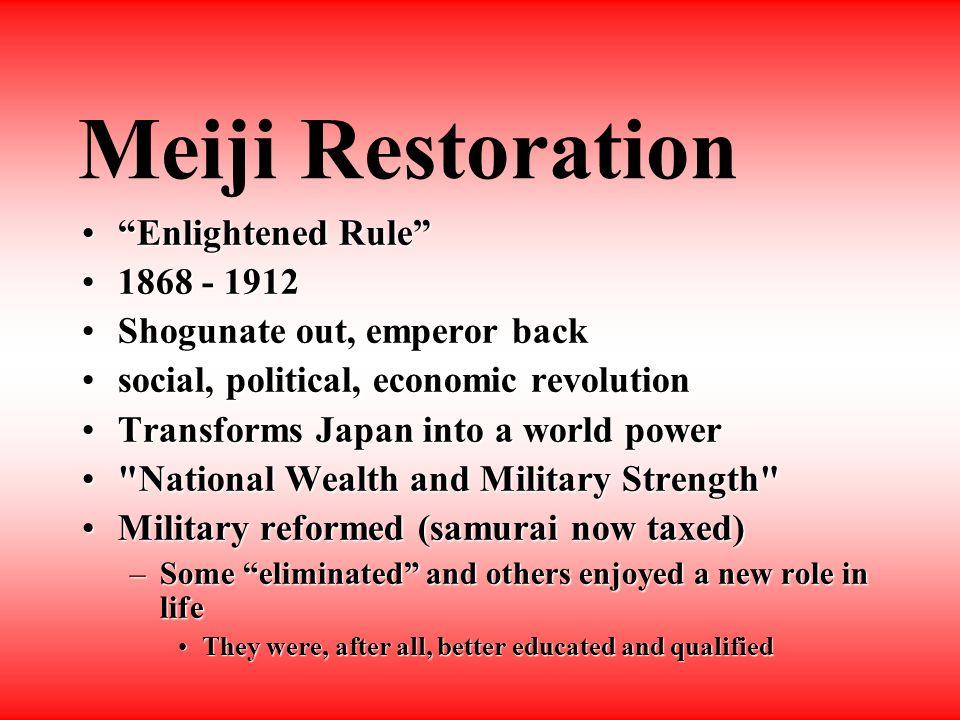Civil War Shoguns, SamuraiShoguns, Samurai - keep old ways RoyalistsRoyalists - return emperor to power