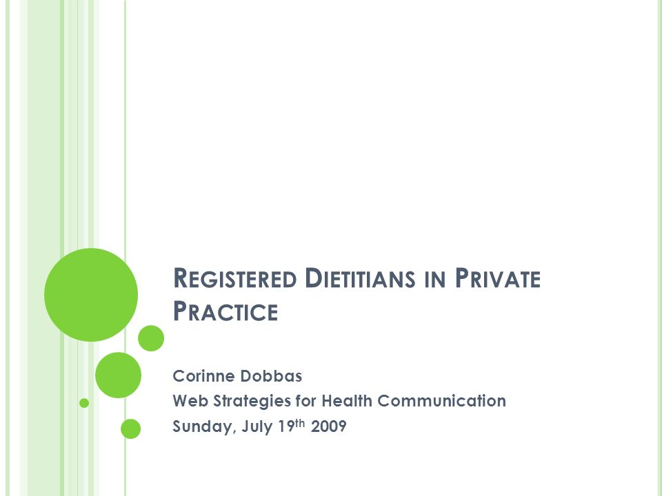 R EGISTERED D IETITIANS IN P RIVATE P RACTICE Corinne Dobbas Web Strategies for Health Communication Sunday, July 19 th 2009