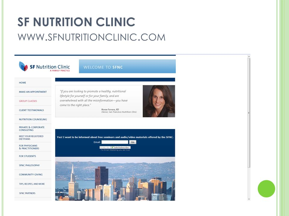 SF NUTRITION CLINIC WWW. SFNUTRITIONCLINIC. COM