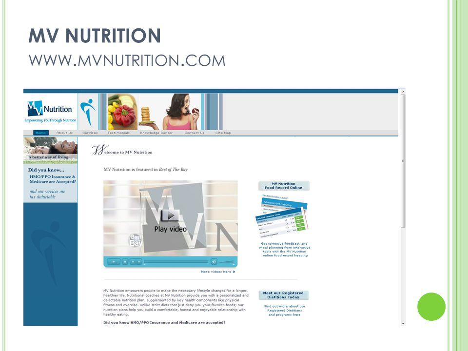 MV NUTRITION WWW. MVNUTRITION. COM