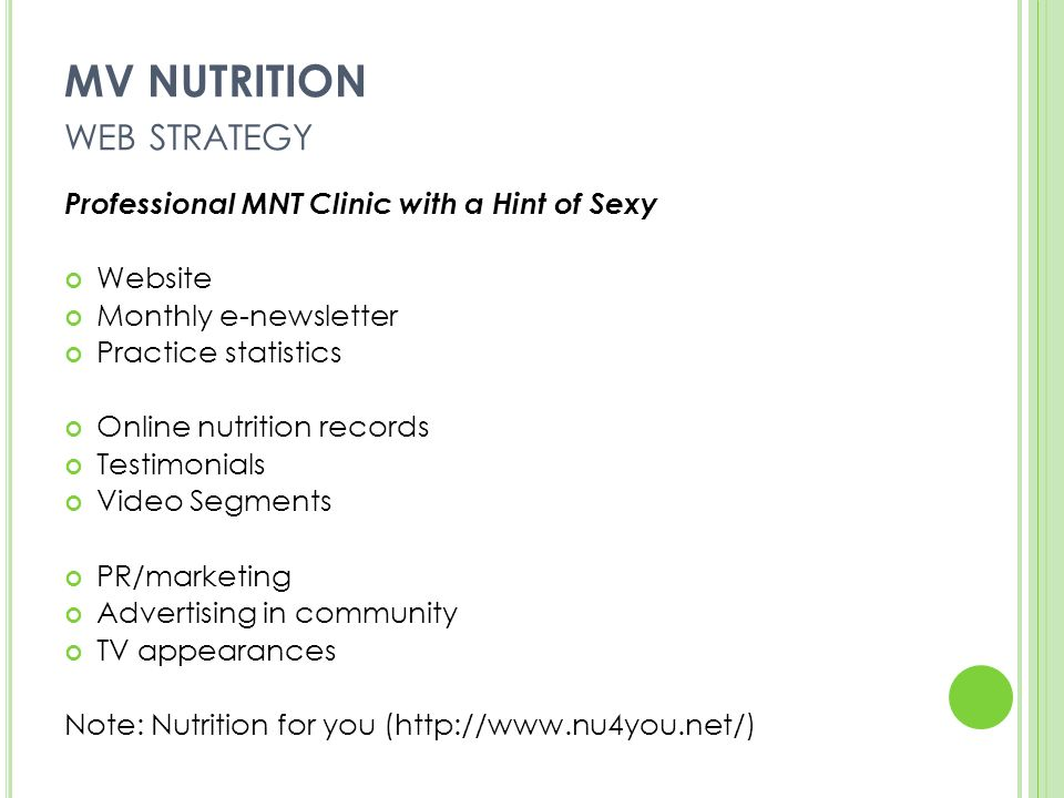 MV NUTRITION WEB STRATEGY Professional MNT Clinic with a Hint of Sexy Website Monthly e-newsletter Practice statistics Online nutrition records Testimonials Video Segments PR/marketing Advertising in community TV appearances Note: Nutrition for you (