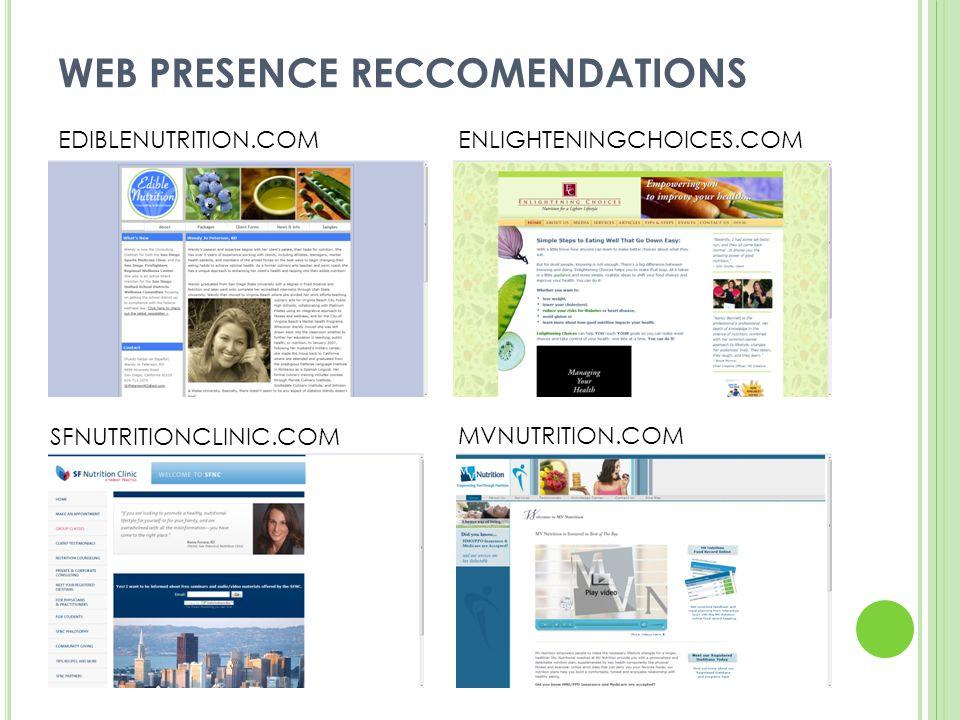 WEB PRESENCE RECCOMENDATIONS EDIBLENUTRITION.COMENLIGHTENINGCHOICES.COM SFNUTRITIONCLINIC.COM MVNUTRITION.COM