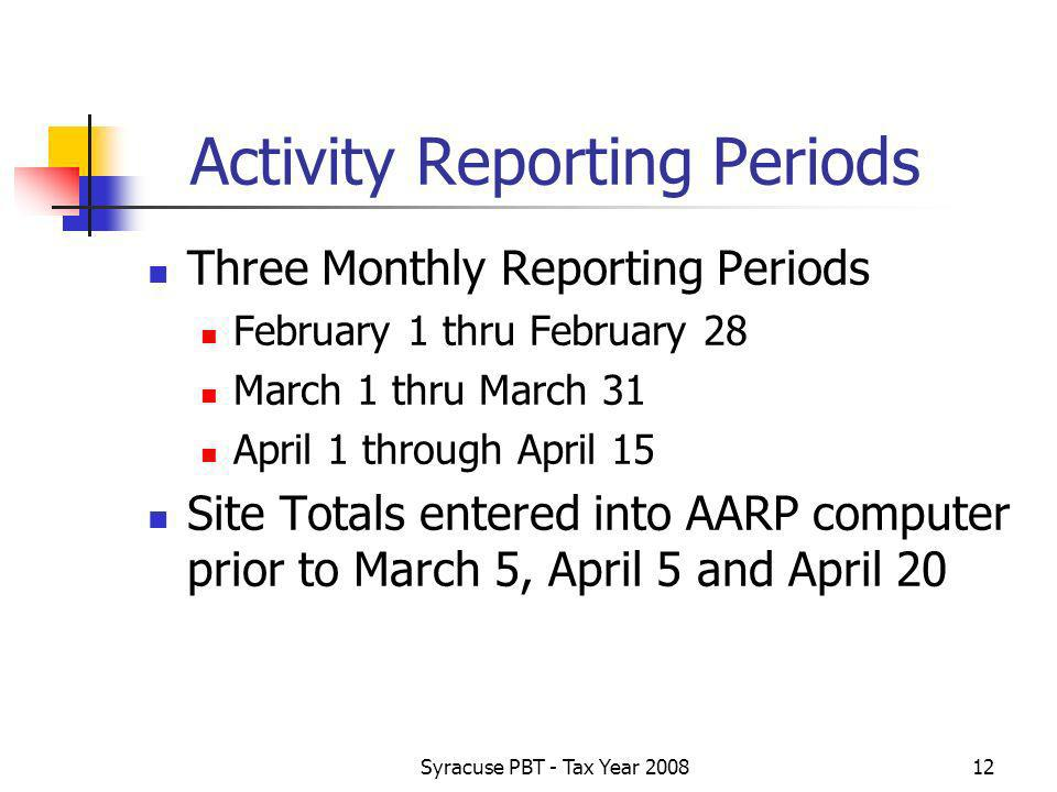 Syracuse PBT - Tax Year Activity Reporting Periods Three Monthly Reporting Periods February 1 thru February 28 March 1 thru March 31 April 1 through April 15 Site Totals entered into AARP computer prior to March 5, April 5 and April 20
