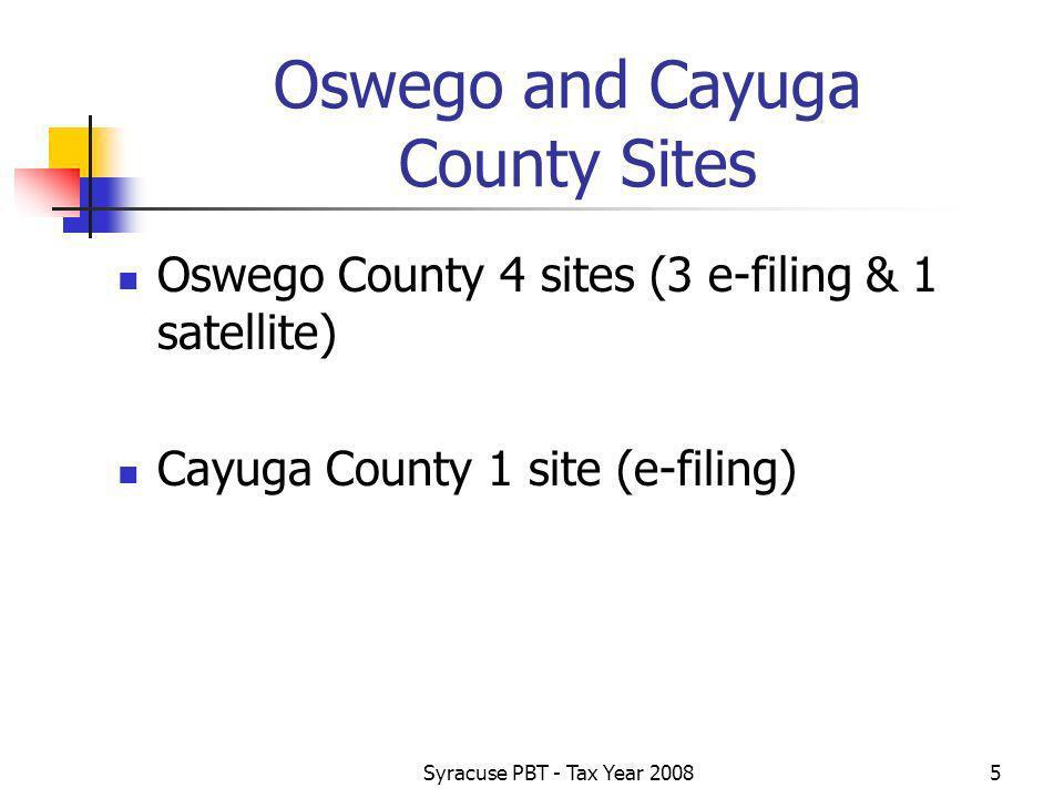 Syracuse PBT - Tax Year 20085 Oswego and Cayuga County Sites Oswego County 4 sites (3 e-filing & 1 satellite) Cayuga County 1 site (e-filing)