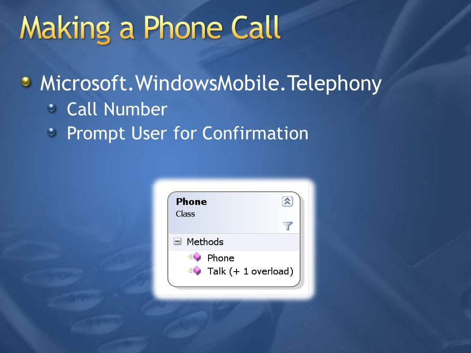 Microsoft.WindowsMobile.Telephony Call Number Prompt User for Confirmation