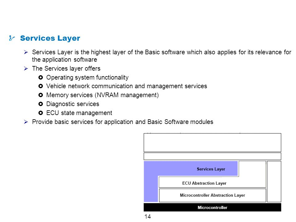 14 AUTOSAR from a Technical Point of View Services Layer Services Layer is the highest layer of the Basic software which also applies for its relevanc