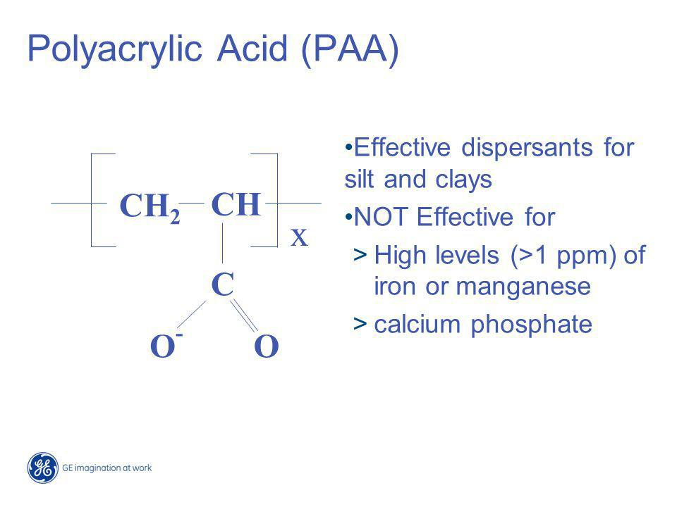 Polyacrylamide Long retention times and/or high temperatures Break down (hydrolyzes) to Acrylic Acid NH3 liberated When it hydrolyzes it is just like PAA CH 2 CH C ONH 2 x