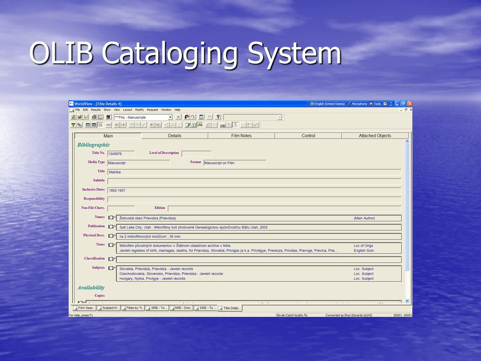 OLIB Cataloging System