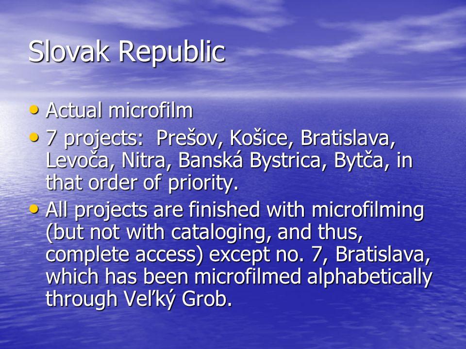 Slovak Republic Actual microfilm Actual microfilm 7 projects: Prešov, Košice, Bratislava, Levoča, Nitra, Banská Bystrica, Bytča, in that order of priority.