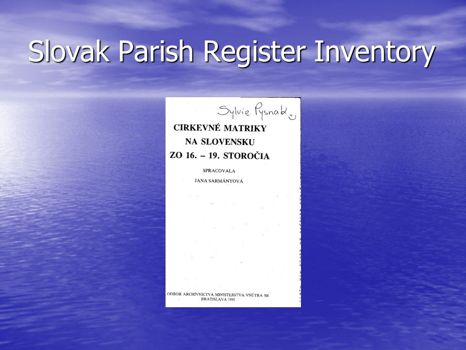 Slovak Parish Register Inventory