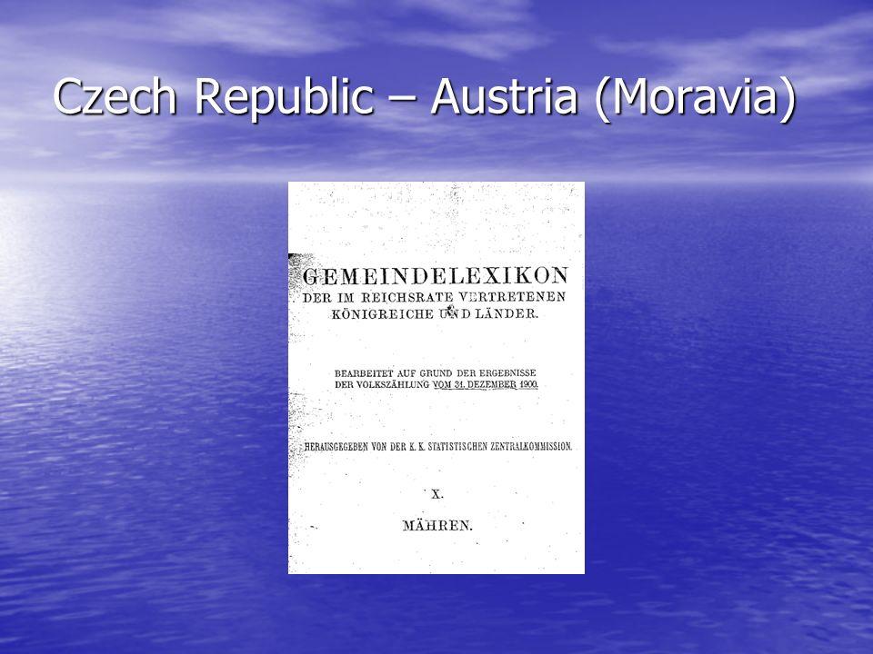 Czech Republic – Austria (Moravia)