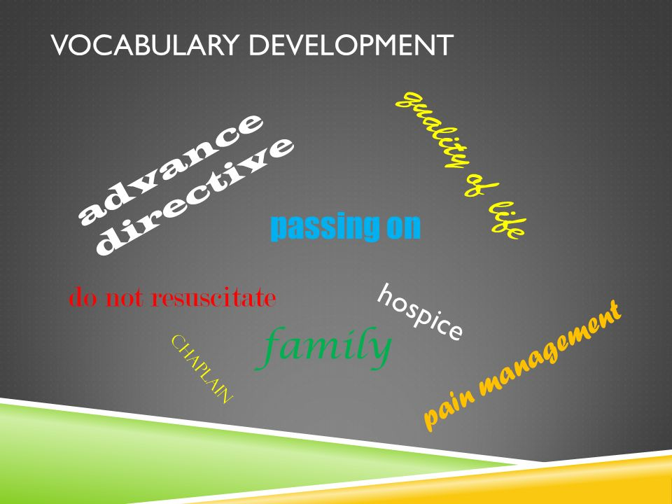 VOCABULARY DEVELOPMENT advance directive hospice do not resuscitate quality of life passing on pain management chaplain family