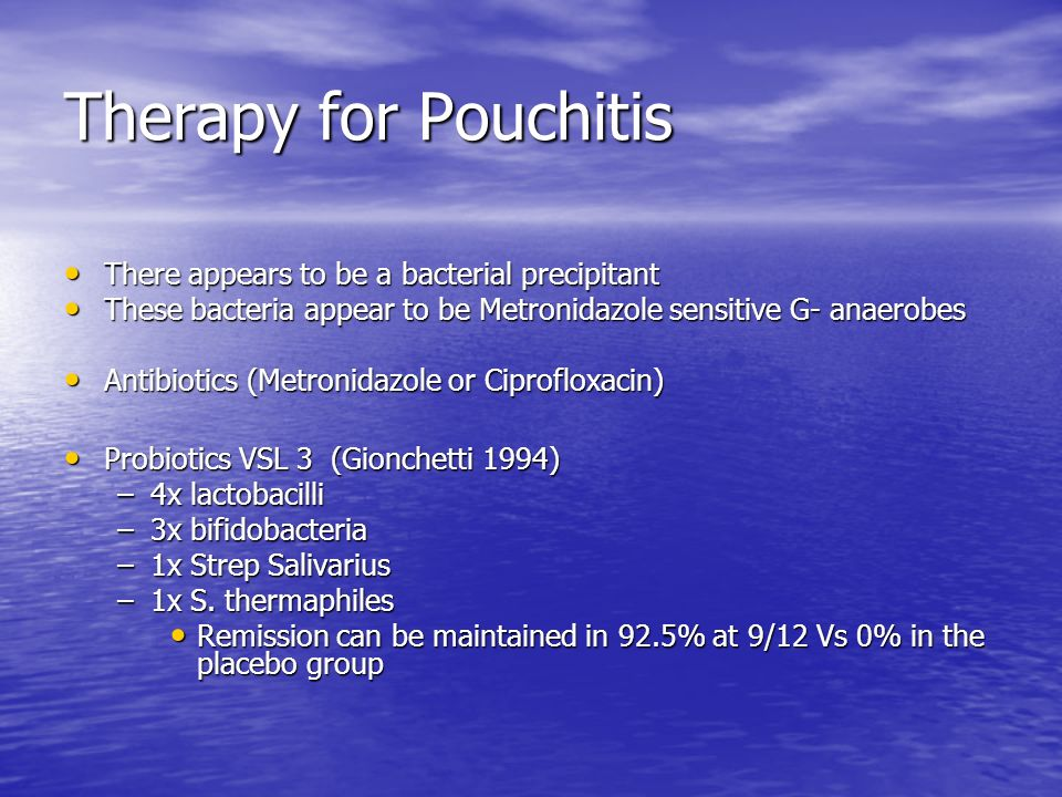 Therapy for Pouchitis There appears to be a bacterial precipitant There appears to be a bacterial precipitant These bacteria appear to be Metronidazol