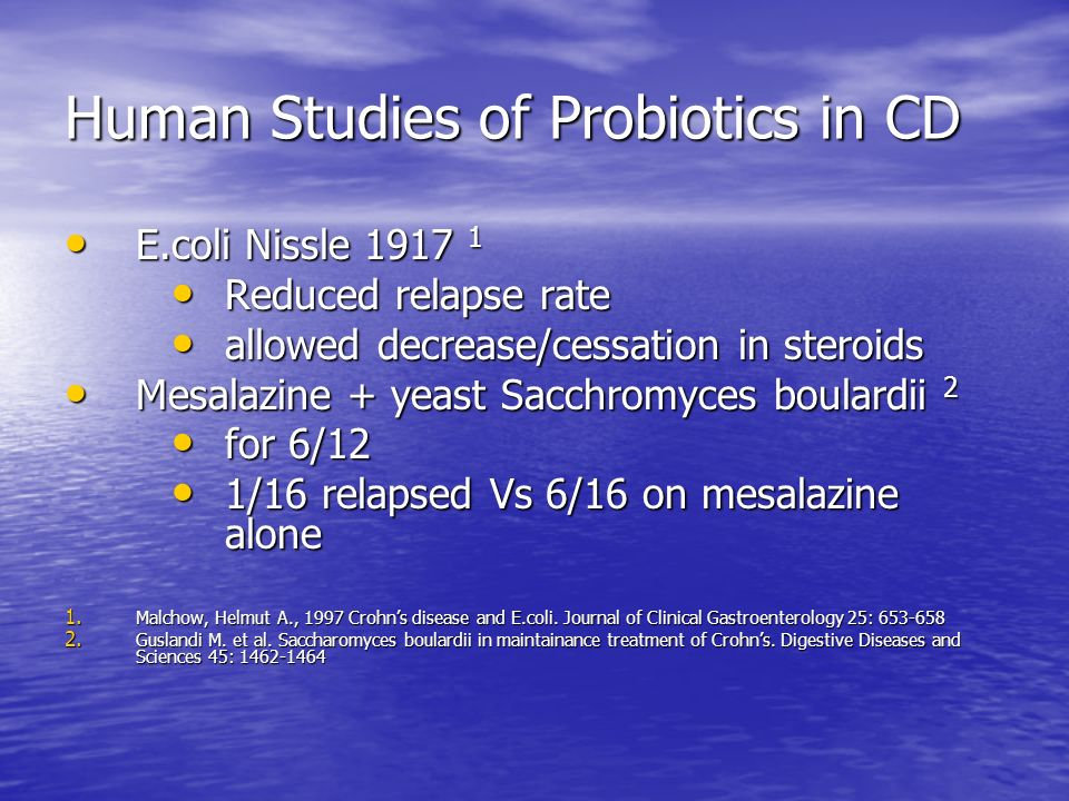 Human Studies of Probiotics in CD E.coli Nissle 1917 1 E.coli Nissle 1917 1 Reduced relapse rate Reduced relapse rate allowed decrease/cessation in st