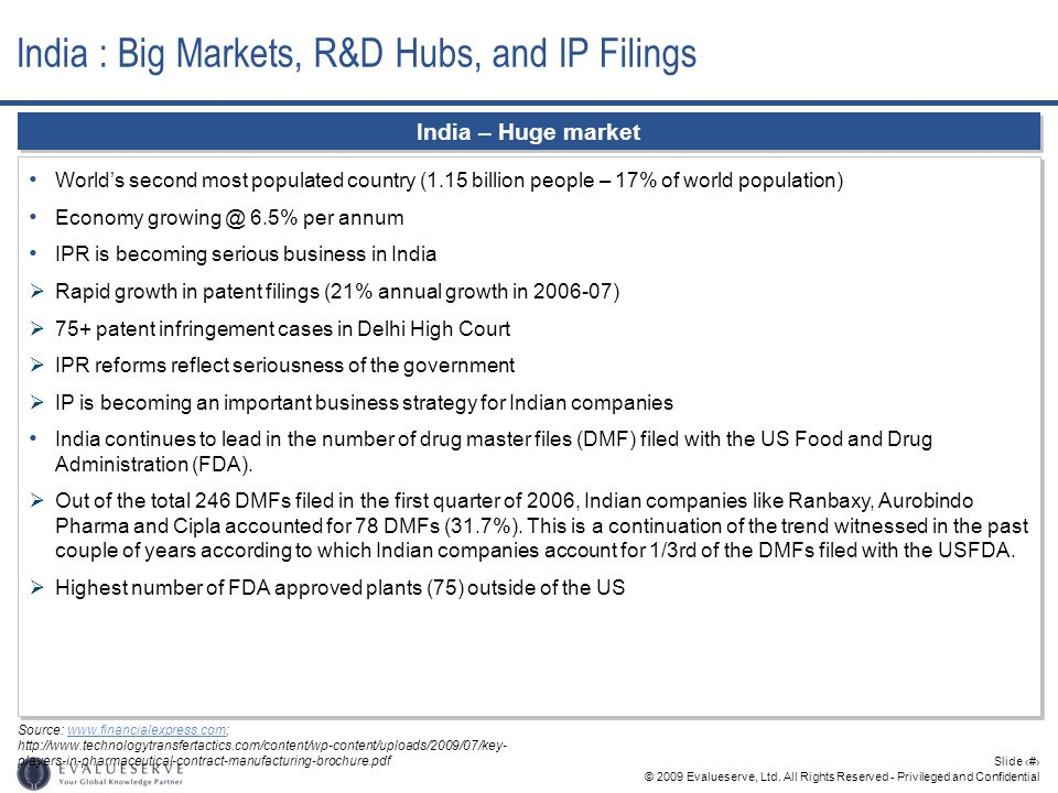 © 2009 Evalueserve, Ltd. All Rights Reserved - Privileged and Confidential Slide 2 India – Huge market Worlds second most populated country (1.15 bill