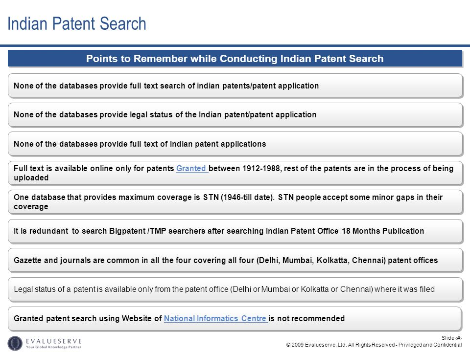 © 2009 Evalueserve, Ltd. All Rights Reserved - Privileged and Confidential Slide 22 None of the databases provide full text search of indian patents/p