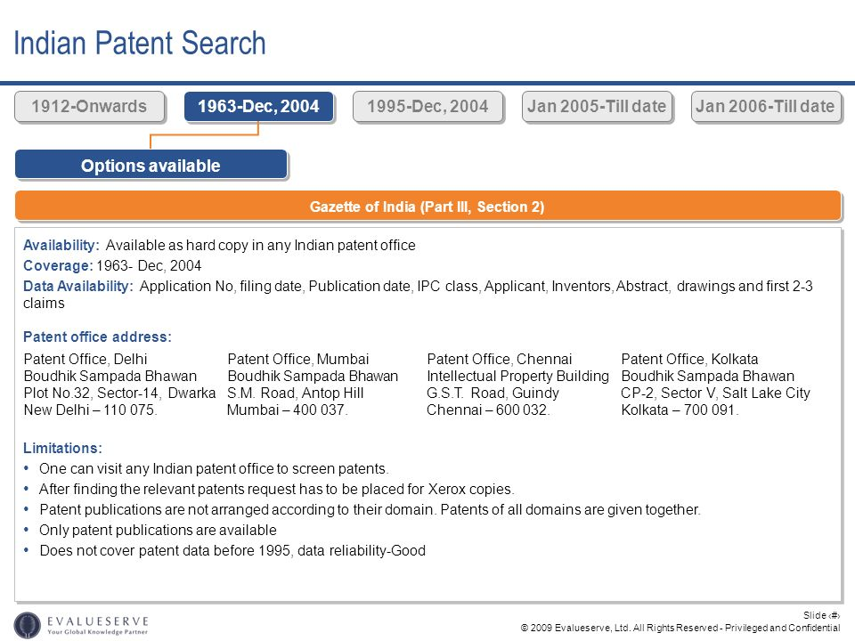 © 2009 Evalueserve, Ltd. All Rights Reserved - Privileged and Confidential Slide 24 Indian Patent Search Options available Gazette of India (Part III,