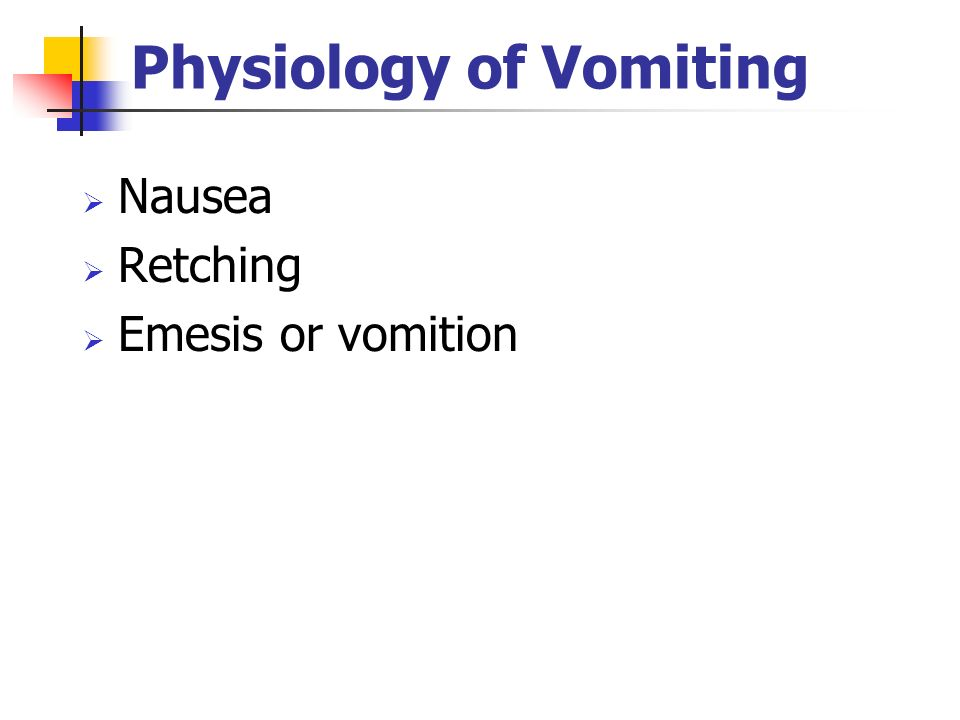 Physiology of Vomiting Nausea Retching Emesis or vomition