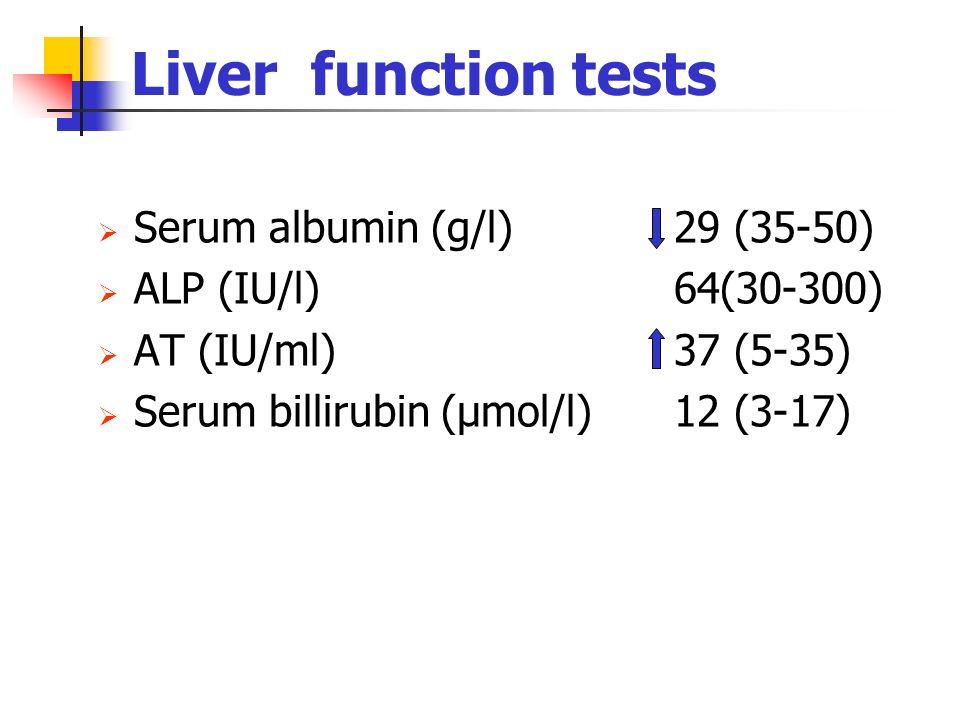 Liver function tests Serum albumin (g/l)29 (35-50) ALP (IU/l)64(30-300) AT (IU/ml)37 (5-35) Serum billirubin (µmol/l)12 (3-17)