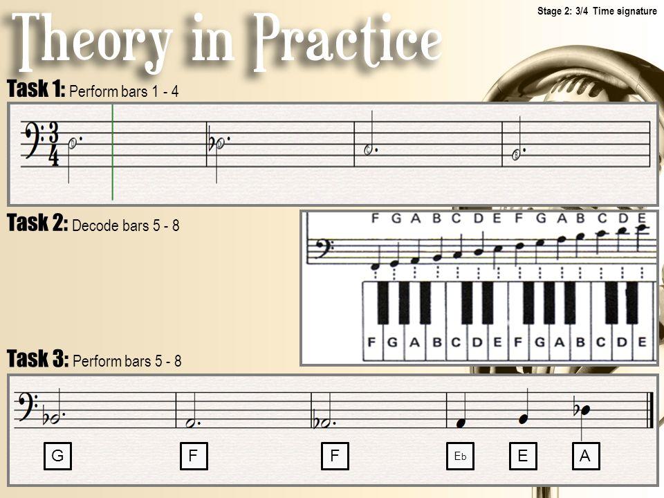 Task 1: Perform bars 1 - 4 Task 2: Decode bars 5 - 8 Task 3: Perform bars 5 - 8 GFF EbEb EA Stage 2: 3/4 Time signature