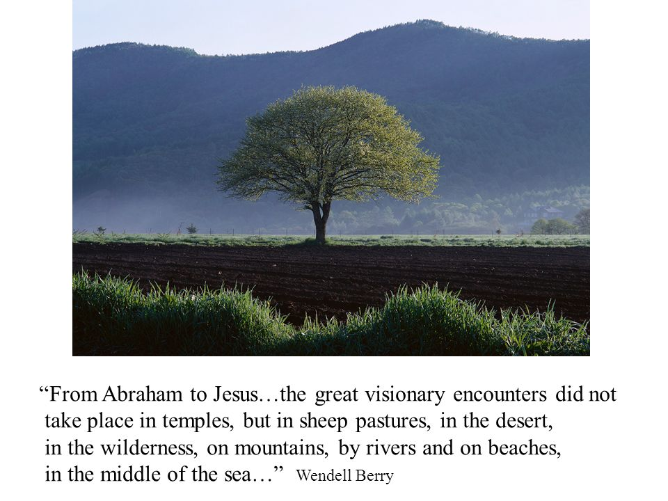 From Abraham to Jesus…the great visionary encounters did not take place in temples, but in sheep pastures, in the desert, in the wilderness, on mountains, by rivers and on beaches, in the middle of the sea… Wendell Berry