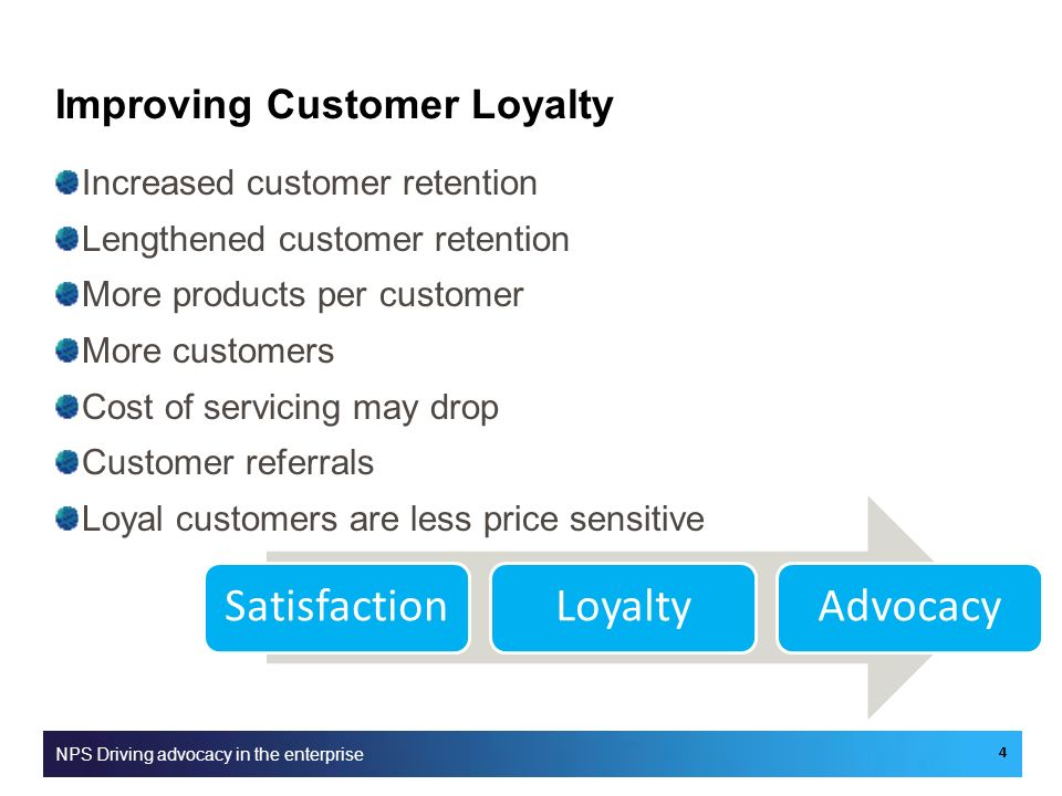 Improving Customer Loyalty Increased customer retention Lengthened customer retention More products per customer More customers Cost of servicing may