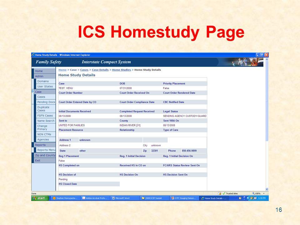 16 ICS Homestudy Page