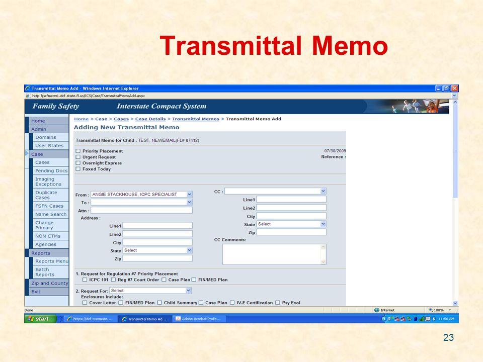 23 Transmittal Memo