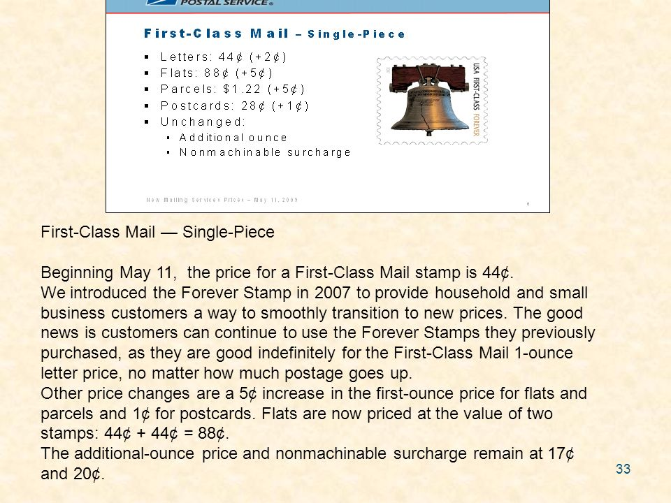 33 First-Class Mail Single-Piece Beginning May 11, the price for a First-Class Mail stamp is 44¢. We introduced the Forever Stamp in 2007 to provide h