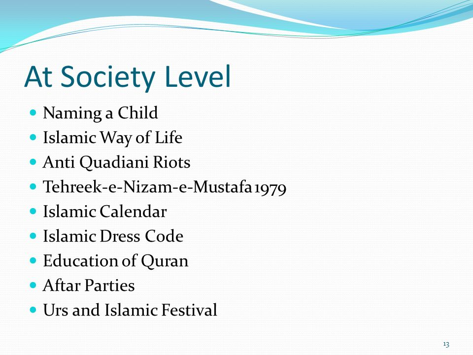 At Society Level Naming a Child Islamic Way of Life Anti Quadiani Riots Tehreek-e-Nizam-e-Mustafa 1979 Islamic Calendar Islamic Dress Code Education o