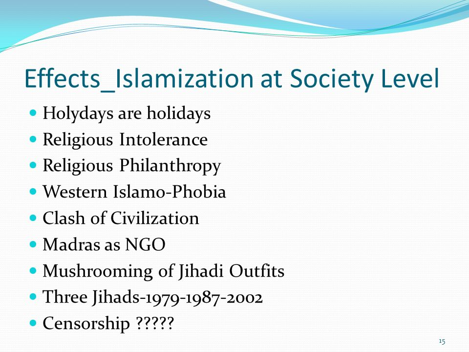 Effects_Islamization at Society Level Holydays are holidays Religious Intolerance Religious Philanthropy Western Islamo-Phobia Clash of Civilization M