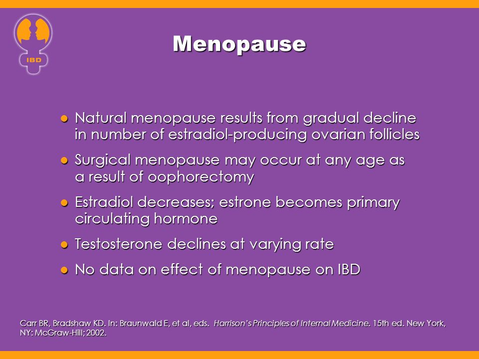 Menopause Natural menopause results from gradual decline in number of estradiol-producing ovarian follicles Natural menopause results from gradual decline in number of estradiol-producing ovarian follicles Surgical menopause may occur at any age as a result of oophorectomy Surgical menopause may occur at any age as a result of oophorectomy Estradiol decreases; estrone becomes primary circulating hormone Estradiol decreases; estrone becomes primary circulating hormone Testosterone declines at varying rate Testosterone declines at varying rate No data on effect of menopause on IBD No data on effect of menopause on IBD Carr BR, Bradshaw KD.
