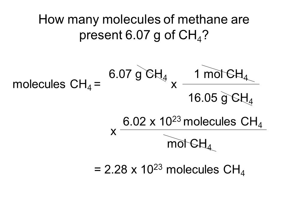 How many molecules of methane are present 6.07 g of CH 4 .
