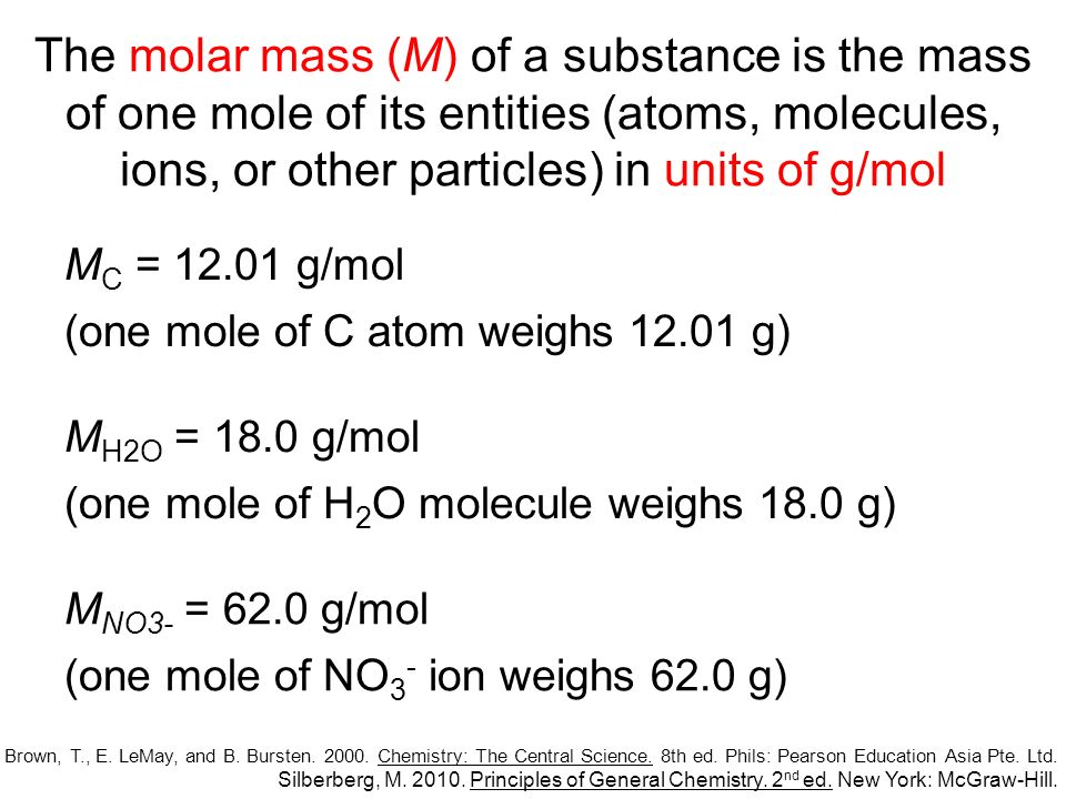The periodic table is indispensable for calculating the molar mass of a substance Elements –M is the numerical value from the periodic table Silberberg, M.
