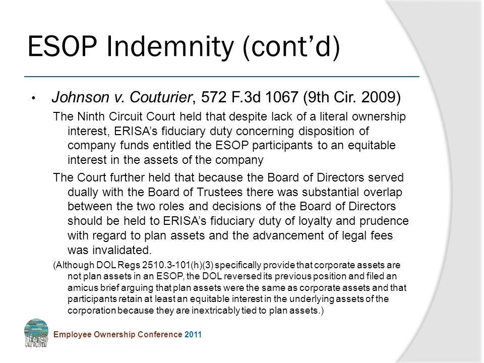 Employee Ownership Conference 2011 Johnson v. Couturier, 572 F.3d 1067 (9th Cir.